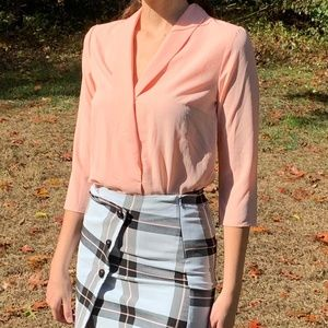 Vintage Tops - Vintage Sheer Pink Peach Button Up Blouse